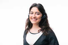 Cheerful woman assistant operator in headset Royalty Free Stock Photography