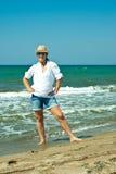 Cheerful woman on the beach Royalty Free Stock Photos