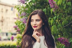 Cheerful woman brunette with long brown hairstyle Royalty Free Stock Photography
