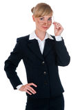 Cheerful woman in a business suit Stock Images