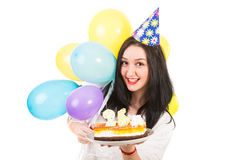 Cheerful woman celebrate her birthday Royalty Free Stock Image