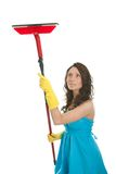 Cheerful woman cleaning window Stock Images
