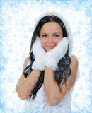 Cheerful woman clothing in warm hat. Royalty Free Stock Photo