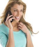 Cheerful Woman Communicating On Smart Phone Stock Photography