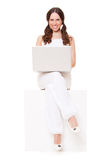 Cheerful woman with computer Stock Photography