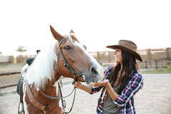 Cheerful woman cowgirl playing with horse in countryside Royalty Free Stock Photo