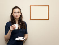 Cheerful woman with cup of coffee, copy space Royalty Free Stock Images