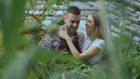 Cheerful woman embrace and kiss husband watering flowers with garden pot. Happy young florist couple in apron working in stock footage