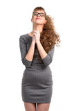 Cheerful woman with eyes closed Royalty Free Stock Photography