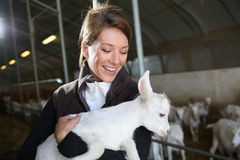 Cheerful woman farmer cuddling baby goat Stock Image
