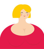 Cheerful woman. Fat girl in pink dress with smile. Royalty Free Stock Image