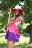 Cheerful woman in the garden Stock Photos
