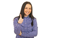 Cheerful woman gives thumbs Stock Photos