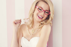 Cheerful woman with glasses Stock Photography