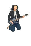 Cheerful woman with guitar jumping Stock Images