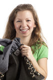 Cheerful woman with handbag Royalty Free Stock Photos