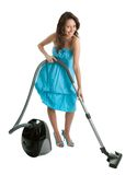 Cheerful woman with handheld vacuum cleaner Royalty Free Stock Photos