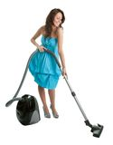 Cheerful woman with handheld vacuum cleaner Stock Images