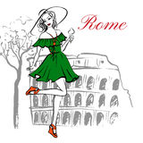Cheerful woman in hat. Fashion illustration of cheerful woman in hat with ice cream near Coliseum in Rome, Italy. Ink hand drawn sketch Stock Images