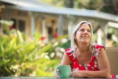 Cheerful Woman Having Coffee Stock Image