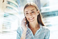 Cheerful woman having discussion on the phone Royalty Free Stock Photography