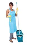 Cheerful woman having fun while cleaning Stock Photos