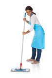 Cheerful woman having fun while cleaning Stock Image