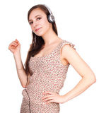 Cheerful woman with headphones Royalty Free Stock Images