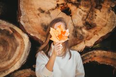 Free Cheerful Woman Hides Face Behind Large Autumn Yellow Maple Leaf On The Background Of Wood Logs In Nature. Closeup Stock Photos - 160225223