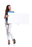 Cheerful Woman Holding Blank Poster Royalty Free Stock Image