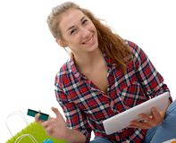 Cheerful woman holding credit cards for shopping Stock Photos