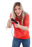 Cheerful woman holding video games joystick Royalty Free Stock Photography