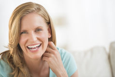Cheerful Woman At Home Royalty Free Stock Photography