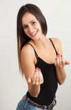 Cheerful woman inviting you Royalty Free Stock Images