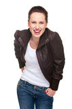 Cheerful woman in jacket Royalty Free Stock Photography