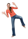 Cheerful woman in jeans having fun Royalty Free Stock Images