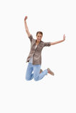 Cheerful woman jumping Royalty Free Stock Image