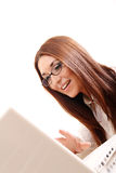 Cheerful Woman with a Laptop Royalty Free Stock Photos