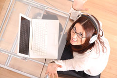 Cheerful Woman with a Laptop Royalty Free Stock Photo