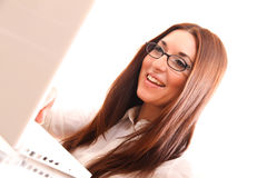 Cheerful Woman with a Laptop Stock Photos