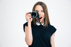 Cheerful woman making photo on camera Stock Photography