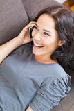 Cheerful woman on the phone Royalty Free Stock Photography
