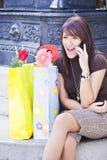 Cheerful woman at phone Stock Image