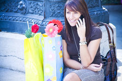 Cheerful woman at phone Royalty Free Stock Image