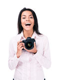 Cheerful woman photographer with camera Royalty Free Stock Photos