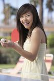 Cheerful Woman Playing Table Tennis Royalty Free Stock Images