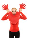 Cheerful woman with plush heart pillow Royalty Free Stock Photo