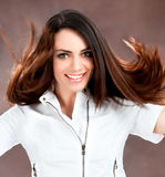 Cheerful woman posing Stock Photo