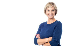 Cheerful woman posing confidently Stock Images