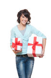 Cheerful woman with presents over white Stock Photos